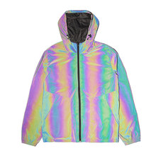 Unisex Reversible Urban Wear Windbreaker Double Sided Rainbow Reflective Chameleon Fabric Adjustable Hood Jacket