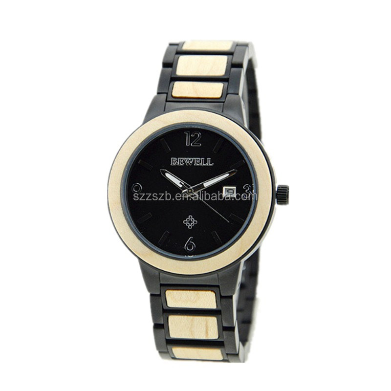 High quality stainless steel man watch Japan movement with natural wood watches
