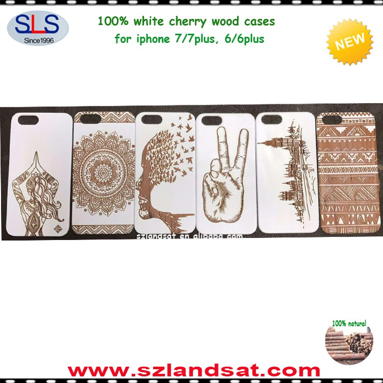 2017 new arrival natural white wood carved mobile wood cases SLS-IPC372