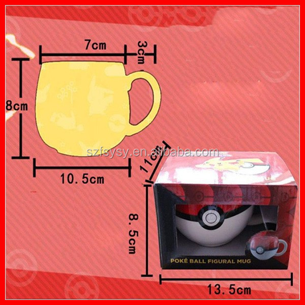 2017 Most Excellent 3D Cartoon Pokemon Design Pokeball Figural Coffee Mug Cup