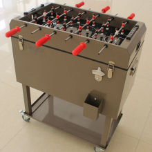 Metal football table rolling ice cool box metal cooler cart vgo drink cooler