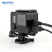 QIUNIU New Blackout Skeleton Housing Case for GoPro Hero 4 3+ 3 Side Open Protective Housing Case Go Pro Accessories