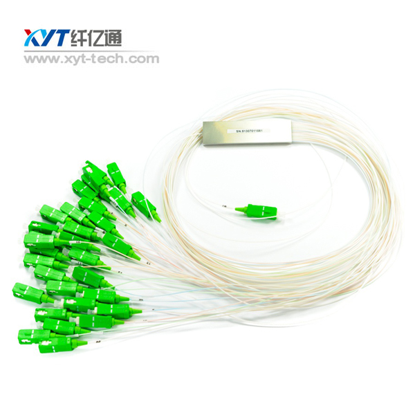FTTH FTTX CATV Networks 2x32 Blockless Fiber Optic Splitter With SC UPC APC ST Connector 2M