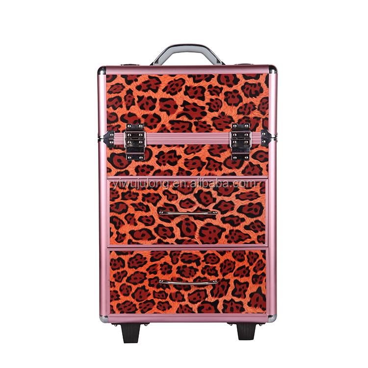 Colorful PVC Moving Trolley Professional Beauty Box Makeup Cosmetic Case