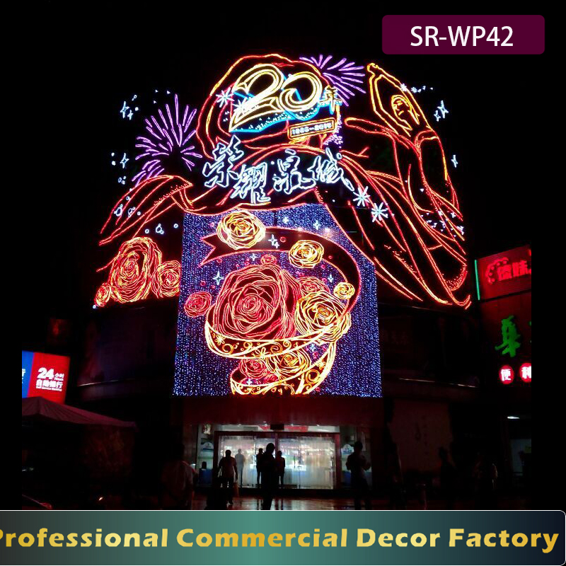 Customize shopping mall exterior facade grand anniversary LED golden rose decoration
