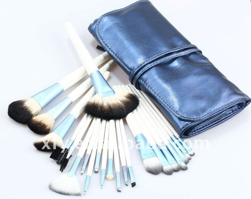 Blue Goat Hair & Pony Hair Wood Handle Aluminum Ferrule Pro 22pcs Professional Cosmetic Brushes