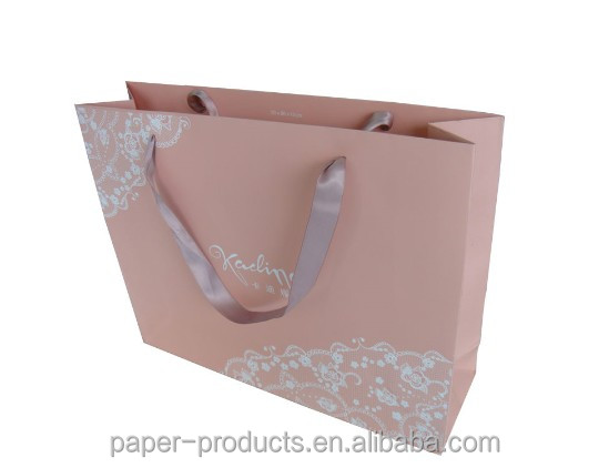 pink ribbon handles Italian ladies clothes packaging paper bags made in china
