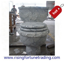 Luxury white marble carved toilet