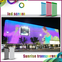 2016 advertising transparent mesh video wall led screen mobile led sign