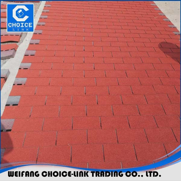 Cheap price roofing material red asphalt shingles made in China