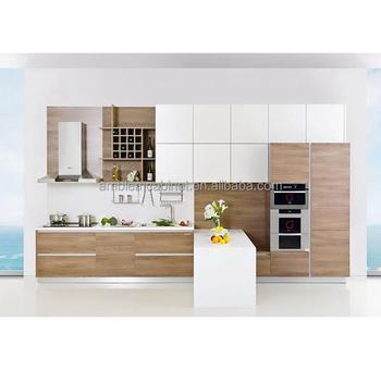 Modern wooden color Melamine kitchen cabinets