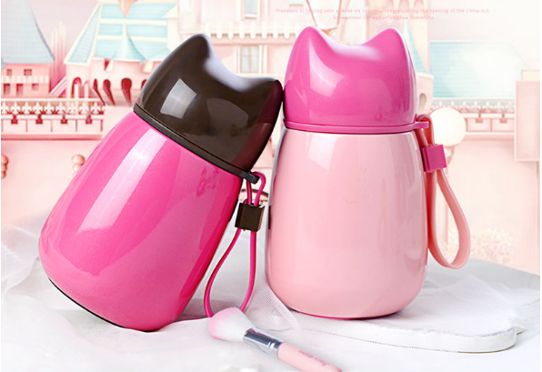 Cartoon Cat Thermo Mug Stainless Steel Drinkware Kids Water Bottle