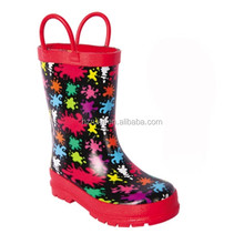 colorful print waterproof kids rain boots with handle,durable high quality gum boots,customized rain shoes reliable supplier
