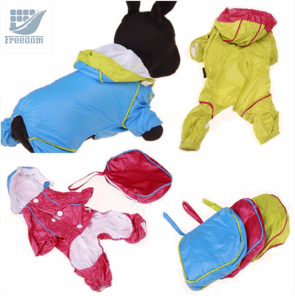 4-legged Pet Rain Jackets +Carrying Pouch 2-layer Doggie Hooded Raincoats