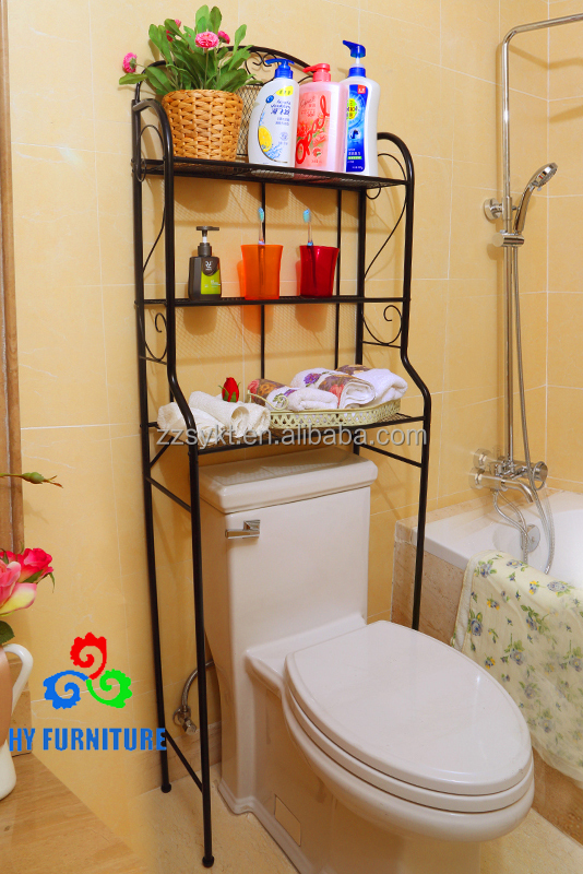 Elegant rustproof metal black toilet racks bathroom pole shelf with 3 tier wholesale