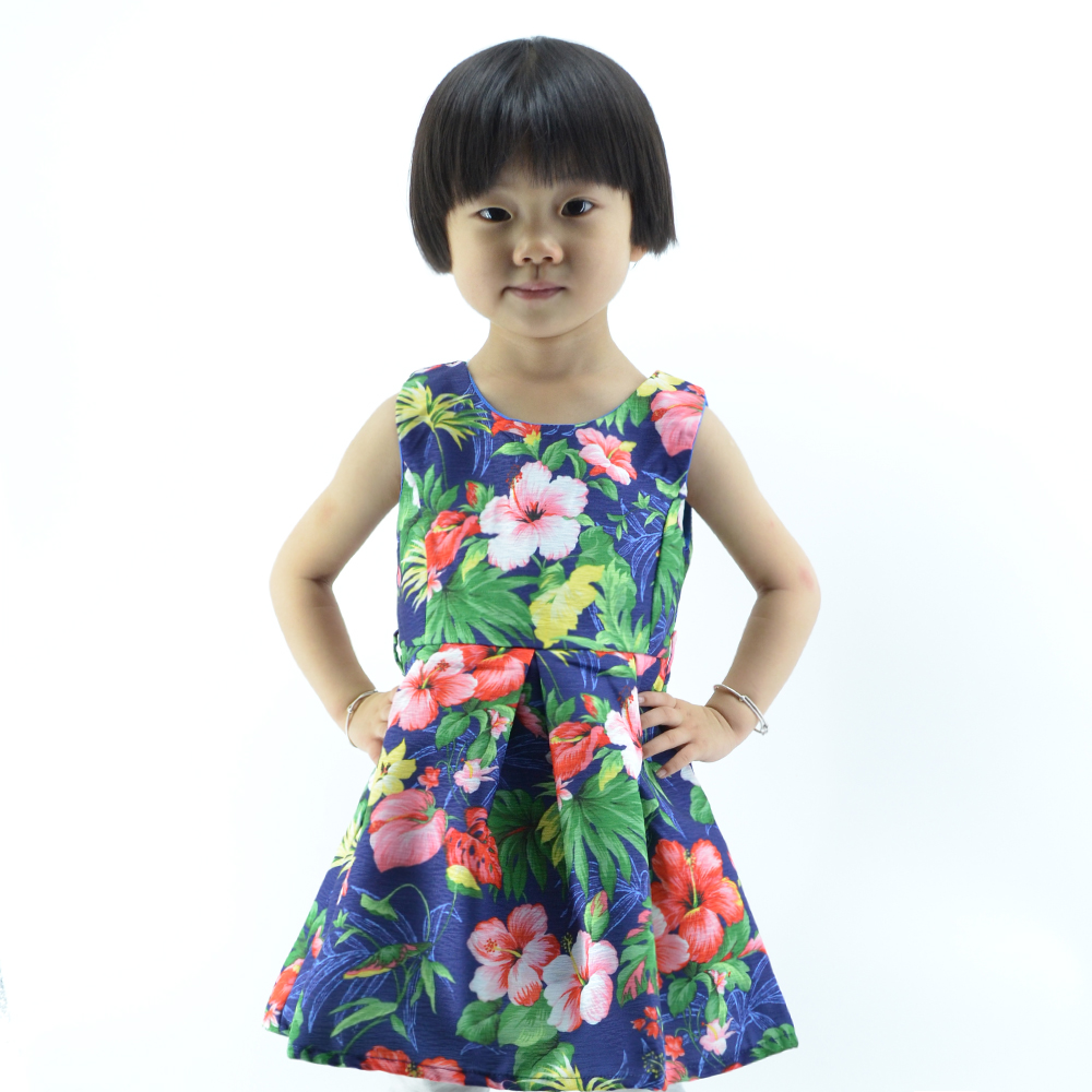 summer season sleeveless flower fabric clothing kids wedding dresses