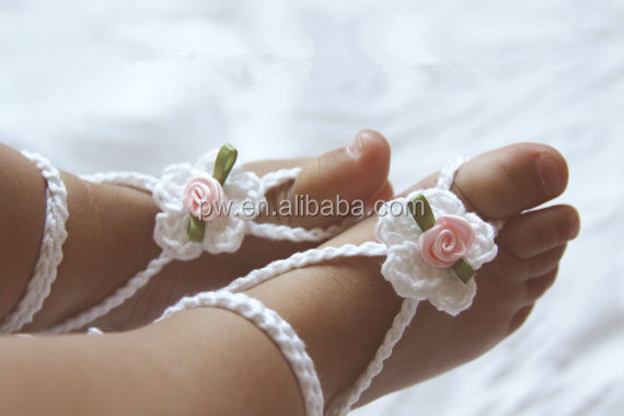 Baby Girl Barefoot Sandals Crochet Baby Sandals Newborn Girl Crochet Shoes Baby Photography Props