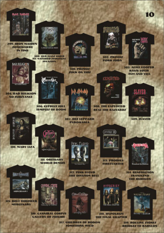 Rock Bands metal t-shirts Screen Print