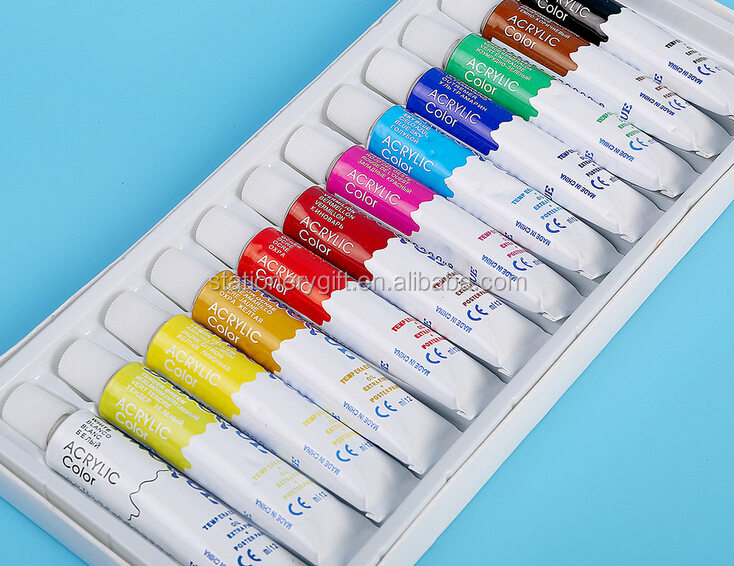 4pcs Brush 12pcs of 12ml with palette with artist brush set Acrylic Paint