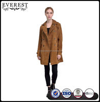 Hot Sale Leather Trench Coat for Women Jacket