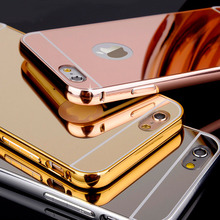 Wholesale hot selling luxury cover for iphone 6 mirror air aluminum bumper case