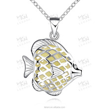 Factory supplier Led light up crystal pendants fish locket necklace style