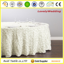 100% polyester cheap rose round tablecloth rosette satin table cloth