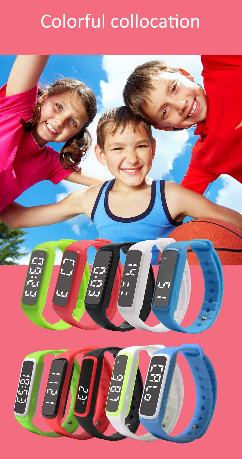 factory OEM silicone pedometer intelligent digital watch kids children smart wrist watch