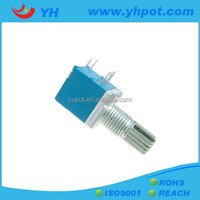 YH jiangsu 9mm low cost mono single unit 200k ohm rotary potentiometer with metal shaft