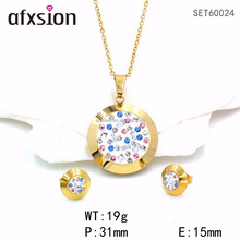 Alibaba selling round pendants and earrings stick colored Crystal Stones stainless steel jewelry sets sold at wholesale prices