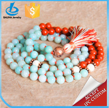 Latest design natural stone 108 beads necklace