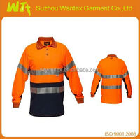 manufacture 100% polyester EN20471 working safety shirt with long sleeves