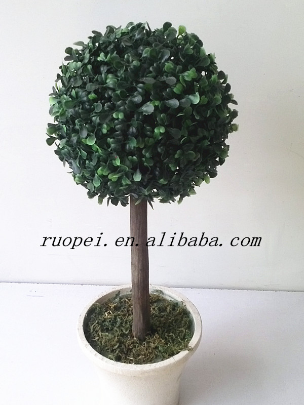 Artificial decorative boxwood topiary bonsai tree with pot