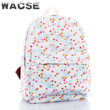 blue floral printed cute girl backpack for school, student backpack