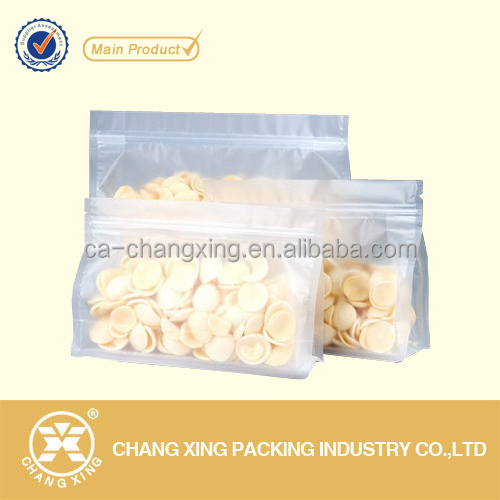 Eco-friendly food safe block bottom plastic potato chips packaging bag / stand up dried food package pouch