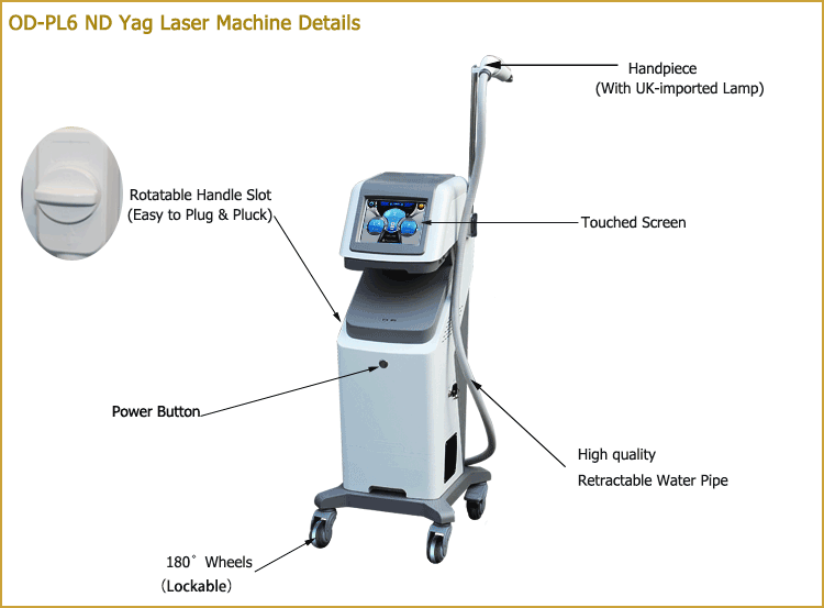 Latest q switched nd yag laser picosecond tatoo remover mashine with fractional yag laser head