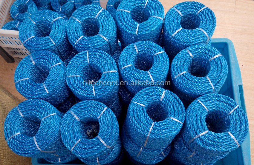 Easy work 3/4/5/6/8/10 mm Blue color 3 strands poly PP Raffia split film  twisted rope
