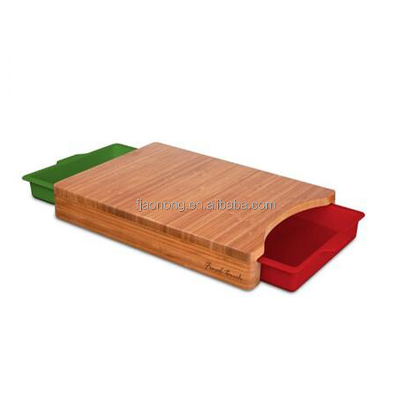 Final Bamboo Cutting Board with Ingredient Tray with drawer