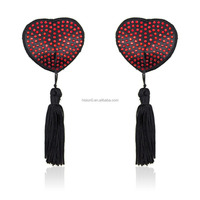 Best Sell Red Diamante Bondage Lingerie Heart-shape Nipple Pasties Sexy Breast Cover With Black Tassels For Ladies Adult Sex Toy