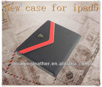 "Nice ""V""decoration leather Cover for ipad5 with card slots Wallet case for ipad5 tablet case for ipad5"