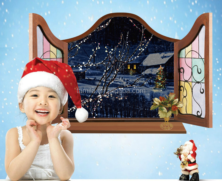 3D Effect Removable Christmas Window Wall Sticker