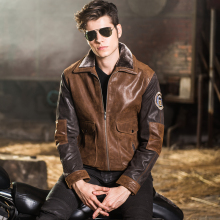 Fashion motorcycle men's genuine leather jacket leather bomber jacket men pilot jackets with faux fur collar