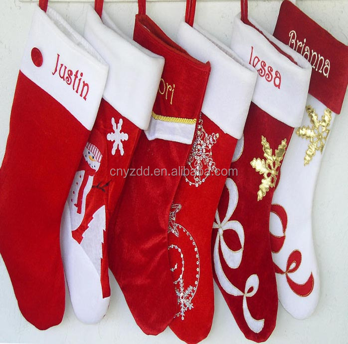 High Quality Plush Christmas Socks/kids christmas socks/red Plush Christmas Sock For Xmas Decoration