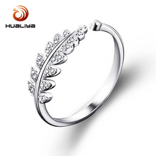 Free Sample Sterling Silver Jewelry Fashion Simple Open Design Leaf Ring Flower Wedding for women
