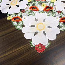 Flower design embroidered 85*85cm square tablecloths for beside table/ refrigeritor/living coffee room table cover