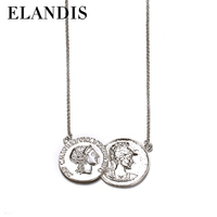 E-ELANDIS High Quality Jewelry Gold Plated couple alloy pendants necklace/NL12392