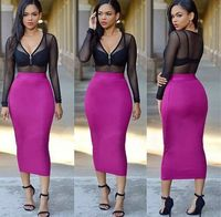 L3563A New Fashion Clothing Women Sexy See Through Mesh Splice Bodycon Club Party Dresses