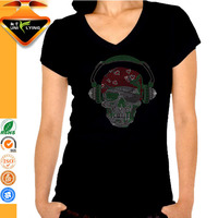 Skull wearing microphone custom black rhinestone motif for t-shirt