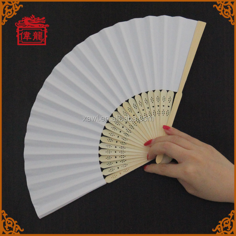Hot wedding custom gift wholesale cheap white paper fans GYS914-1