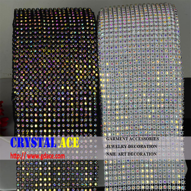 Real Crystal Real Price 24 lines stretch elastic black white cup crystal AB elastic rhinestone trimming rolls